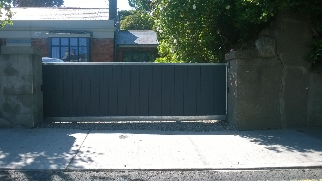 Metal framed gate with timber infill