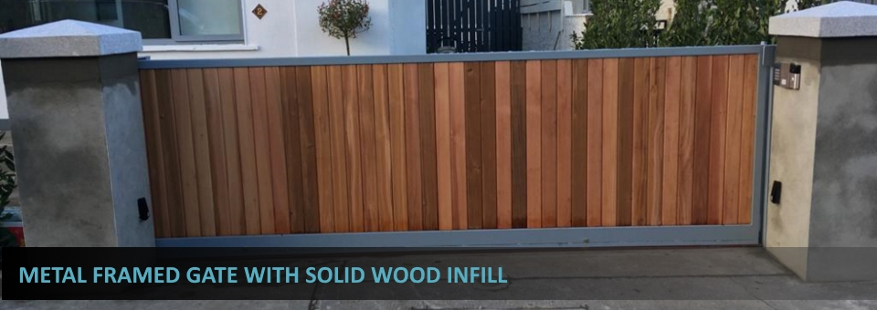 Metal Framed Gate With Solid Wood Infill